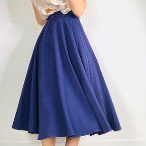 Vintage Purple High Waist Pleat A Line Midi Skirt